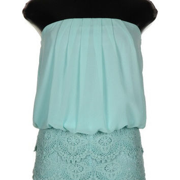 Lace and Chiffon Romper - Mint
