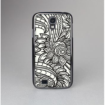 The Black & White Vector Floral Connect Skin-Sert Case for the Samsung Galaxy S4