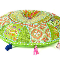 Round Patchwork Floor Pillows