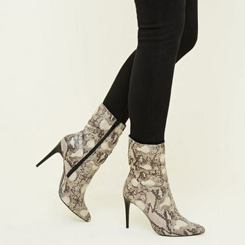 Black Faux Snake Stiletto Slouch Calf Boots | New Look