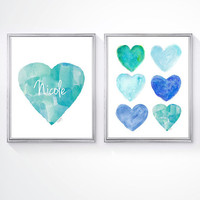 Beach Nursery Decor, Beach Decor, Set 2 - 8x10 Watercolor Prints, Coastal Art, Aqua Nursery Art, Blue Nursery Art, Coastal Chic, Beach Art