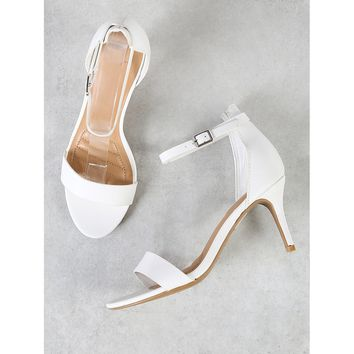 Classic Single Strap High Heels WHITE
