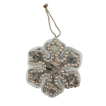 "4"" Nature's Luxury Embellished Wooden Snowflake Decorative Christmas Ornament"
