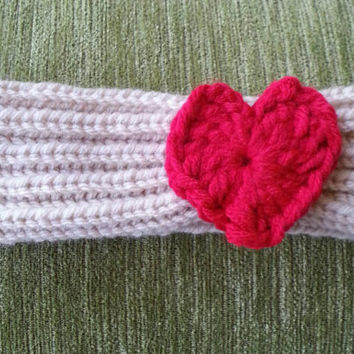 Hand Knit Headband with a Heart for Toddlers and Young Children 12 months to 6 years old