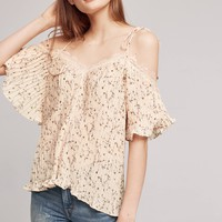Pleated Petals Open-Shoulder Top
