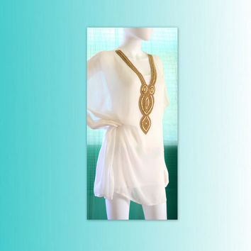 short kaftan dress beach caftan sheer white embellished kaftan festival clothing white top gift for her