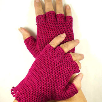 Crochet Gloves Retro Vintage Style Steampunk Lace Fishnet Fingerless Gloves Fuchsia Pink