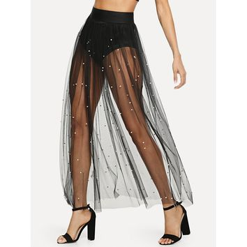 Pearl Beaded Sheer Mesh Skirt