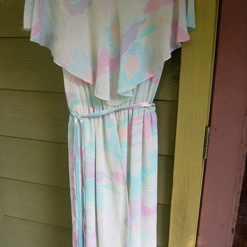 Vintage 70s 80s A. J. Bari for Bonwit Teller Ruffle Collar Pastel Ribbon Belted Dress Size S/M