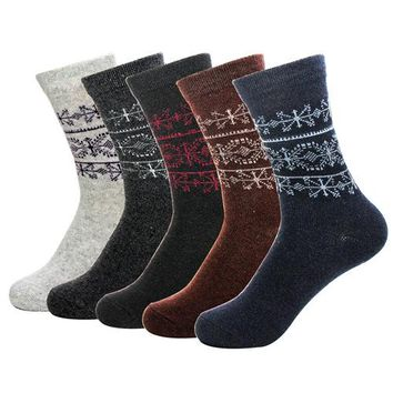 Men's Rabbit Wool Socks Autumn Winter Warm Thick Quality Classical Geometric Retro Pattern Foreign Large Size Sock