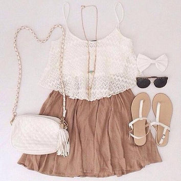 Fashion Solid Color Sling Two-Piece Dress