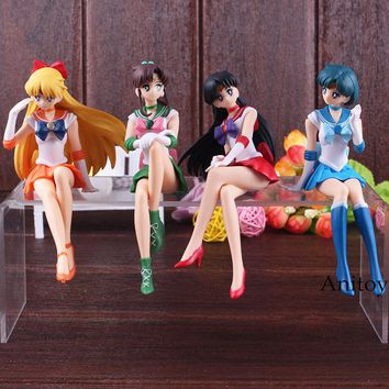 Anime Sailor Moon Figurine Break Time Figure Sailor Moon Mars Mercury Venus Jupiter PVC Action Figure Doll Toys 14cm