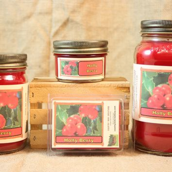 Holly Berry Candle, Scented Candles and Wax Melts, Highly Scented Holiday Candles and Wax Tarts, Christmas Candle, Holiday Decor