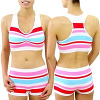 ToBeInStyle So Cute Sports Set Combo Padded Bra Seamless Matching Shorts Striped