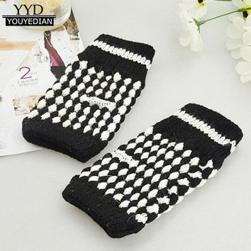 2017 New Fashion Fingerless Mittens Women Girl Kniting Wrist Thick Warm Fingerless Hand Winter Gloves Gants Femme *1123