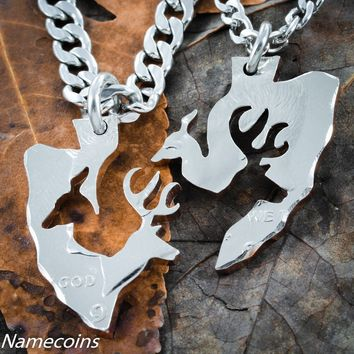 Couples Buck and Doe Arrowhead Necklace Set by NameCoins