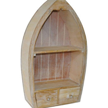 Wooden Wall Mount or Free Standing Canoe Cabinet - 25-3/4-in