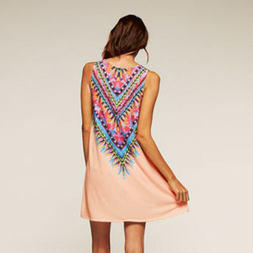 Pink Fringed Tassel Print Sleeveless Mini Dress