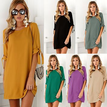 Chicloth Bow Tie Sleeve Round Neck Long Blouse