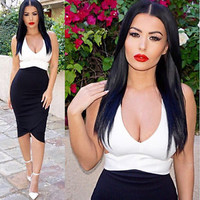 Sexy Women cotton Slim Bodycon V-neck white black patchwork Party Cocktail Dress