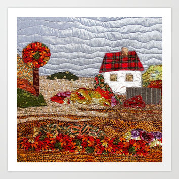 Autumn in the country Art Print by Bozena Wojtaszek