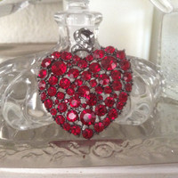 KJL heart pendant red Rhinestone clear rhinestones large heart pendant sparkler stones gift holiday silver tone metal red glass vintage