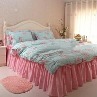 Shabby and Vintage Style Blue Rose Pink Gingham 4pc Duvet Cover Set