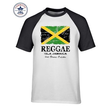 2017 Hipster Basic Tops Funny Reggae Jamaica Flag Funny Cotton T Shirt for men