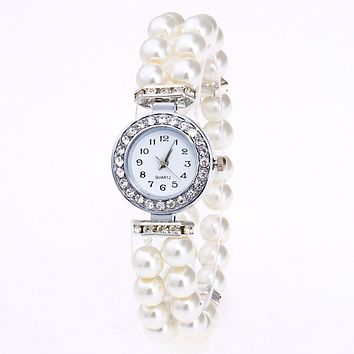 Vintage Era Pearl and Crystal Stretch Watch