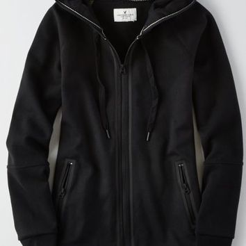 AEO Women's Zip-up Seamed Hoodie (True Black)