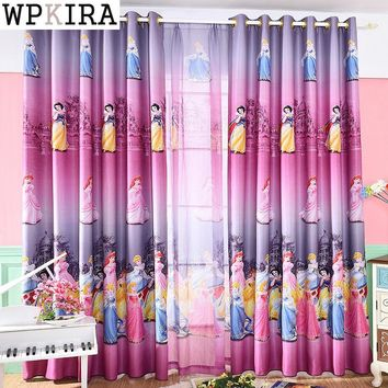 Pink Purple Cartoon Curtains Girl Princess Children Kids Room Tulle Curtains For Windows Bedroom Drapes S044&30