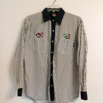 Vintage 90s Mickey Mouse Striped Shirt