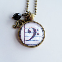 Bass Clef Necklace - Music Necklace - Classical Piano Pendant - Sheet Music Jewelry - Music Lover Gift - Piano Teacher Gift - Staff Notes
