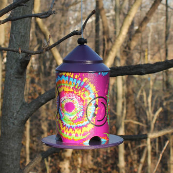 Happy Hippie Bird Feeder by BFG in Tie Dye with Smiley Face.  Great Piece of Garden Art or Home Decor.
