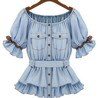 Light Blue Ruffled Short Sleeve Bowknot Belted Top