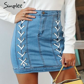Simplee Sexy women vintage bodycon jeans skirt Elegant lace up high waist denim skirt winter all-matched mini skirt
