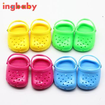 Suitable For 18 Inch American Girl Shoes Jelly Shoes Children's Fashion DIY Toys Sandals Plastic Doll Decoration WJ971 ingbaby