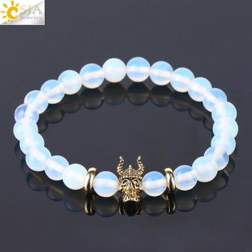 CSJA Opal Round Mala Prayer Beaded Bracelets for Girl Chakra Vintage Tibetan Buddha Lion Head Charm Meditation Jewelry Gift F453