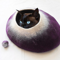 Cat Bed Cat Cave Cat House Felted Wool Purple with FREE Cat Ball - Large, medium or small