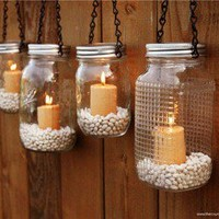 The Country Barrel — Set of 4 Mason Jar Luminaries - Black Chain
