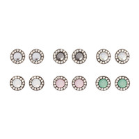 Rhinestone Framed Crystal and Opal Crystal Button Stud Earrings Set of 6