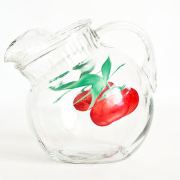 Vintage Anchor Hocking Tilt Ball Pitcher, Hand Painted Cherries, 1950s Water Carafe Round Juice Container, 1 QT