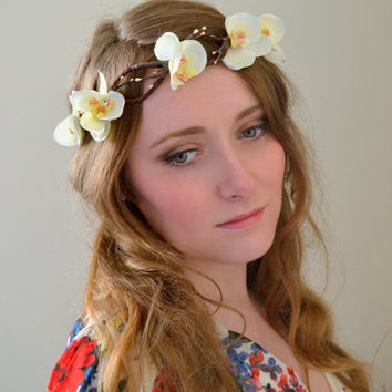 Flower crown floral crown Bridal hair crown, rose crown Wedding wreath head piece Blue white Silk Flowers - 'Berries and Orchids'