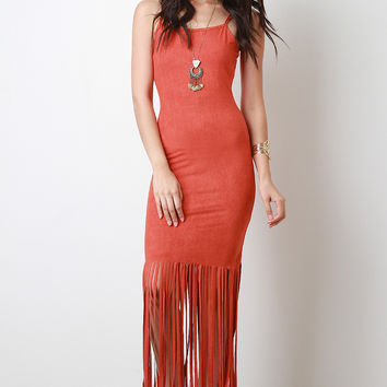 Vegan Suede Fringe Hem Maxi Dress