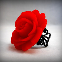 Red Rose Ring on Black filigree Gothic Wedding Jewelry