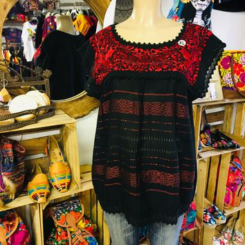 Mexican Oaxaca Blouse Floral Red Embroidery Black