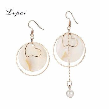 ICIKU7Q Elegant Shell Geometric Dangle Long Asymmetric Design Round Chain Earrings