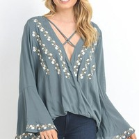"The ""Morgan"" Embroidered Blouse - Kale"