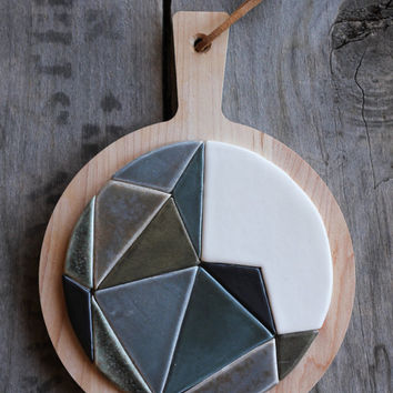 ceramic and wood trivet  | geometric | triangles | prism