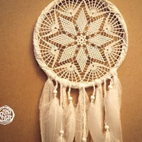 Dream Catcher - White Star - Unique Dream Catcher with White Handmade Crochet Web and White Feathers - Mobile, Home Decor, Decoration